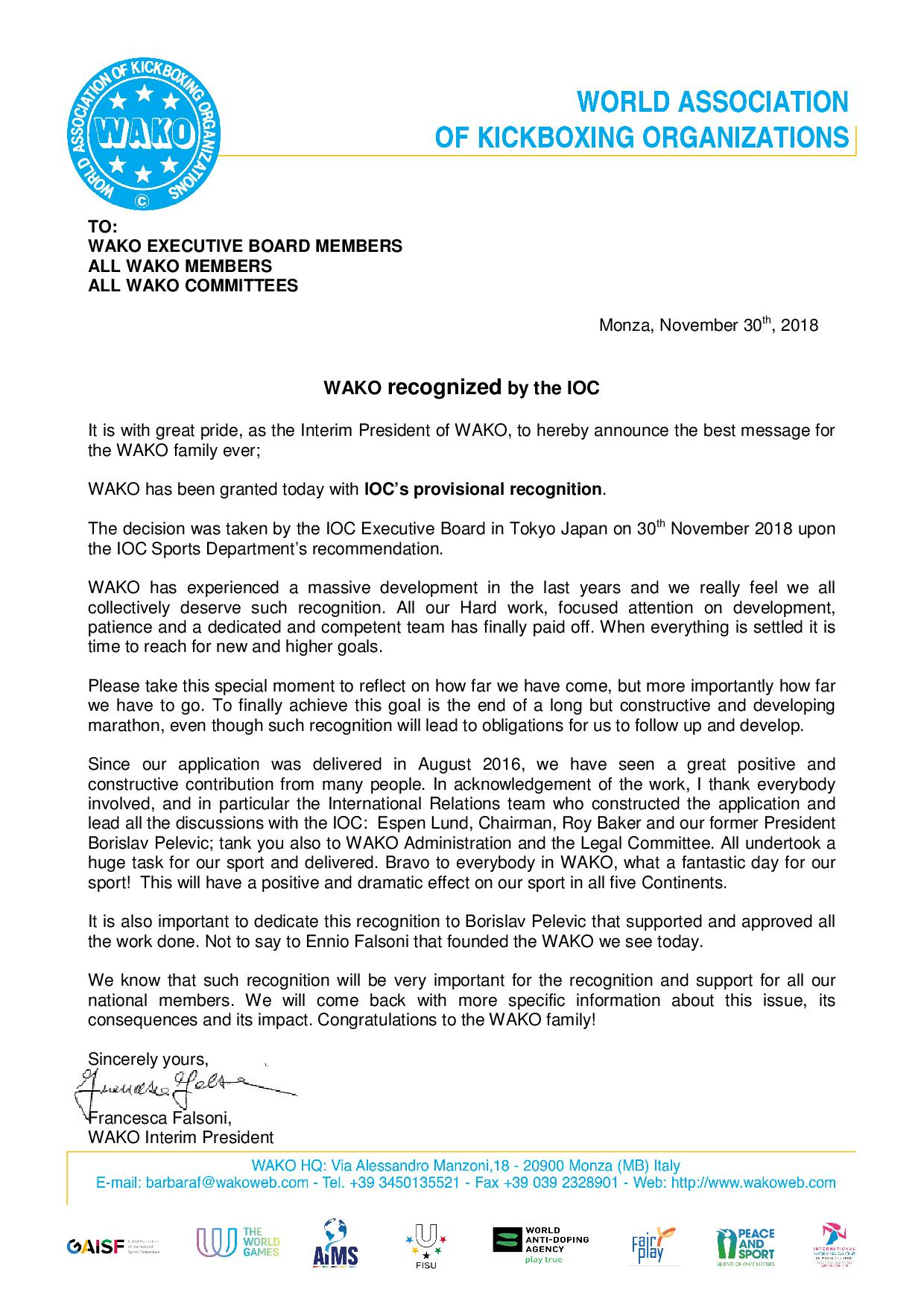 WAKO recognized by the IOC page 001